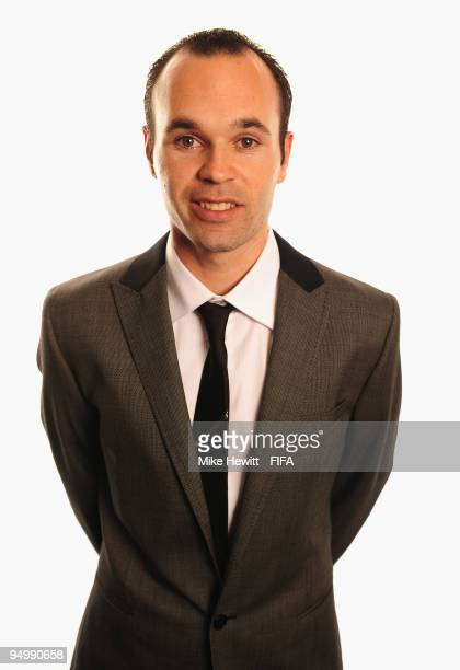 FIFPro World XI player Andres Iniesta of Barcelona and Spain poses for a photo on December 21 2009 in Zurich Switzerland