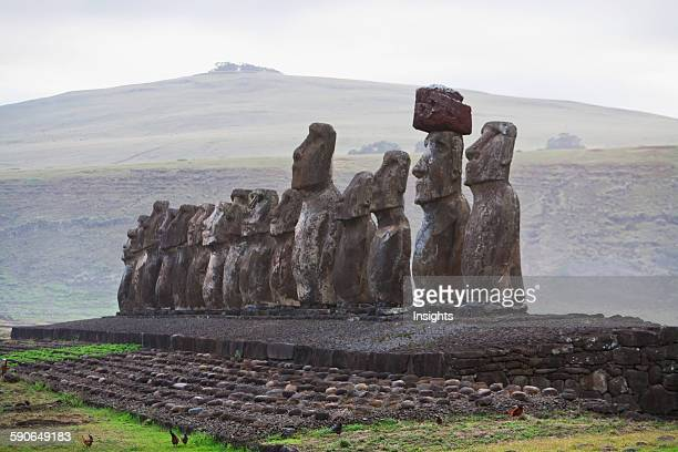Fifteen Moais From Different Periods Restored By Archaeologist Claudio Cristino At Ahu Tongariki At Dawn Rapa Nui Chile