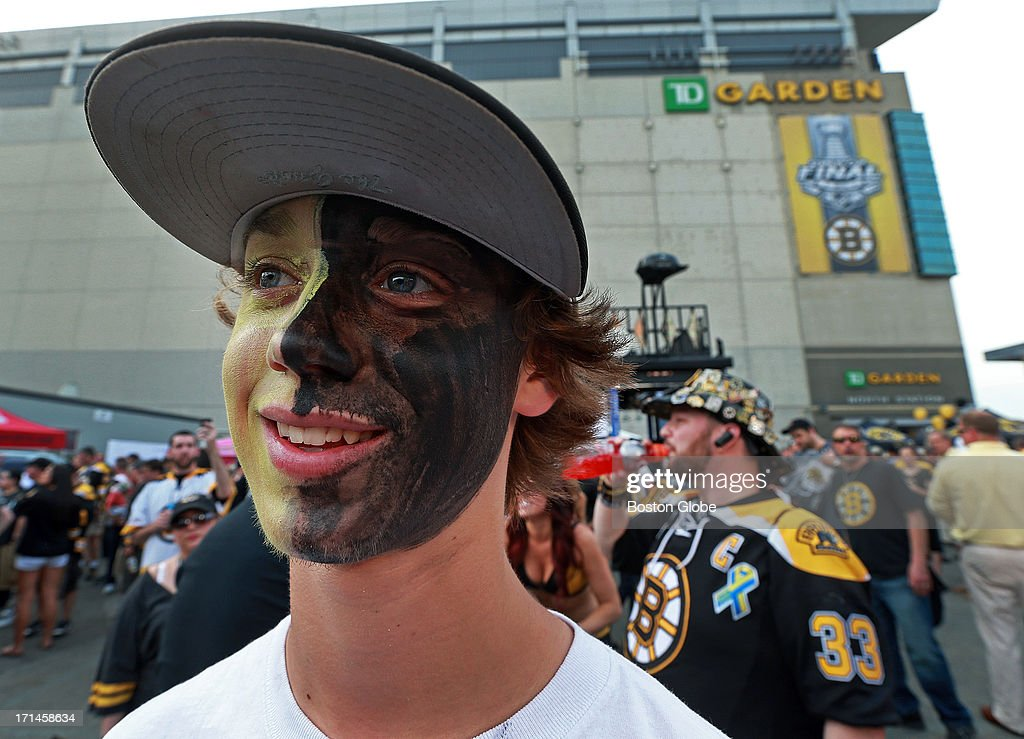 Fifteen-year-old Logan Drevitch of Middleborough, Mass., had his face painted black and gold for the Bruins outside of the Garden before the game. The Boston Bruins hosted the Chicago Blackhawks for Game Six of the Stanley Cup Finals at TD Garden, June 24, 2013.