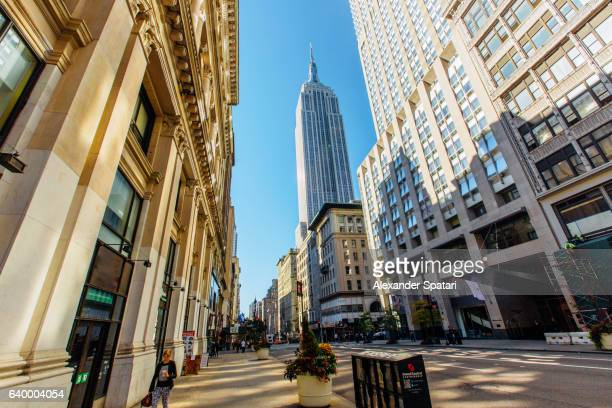 Fifth Avenue with view to Empire State Building, Manhattan, New York City, New York State, USA