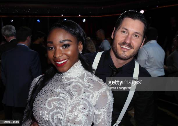 Fifth Harmony member Normani Kordei and dancer Valentin Chmerkovskiy attend 'Dancing with the Stars' Season 24 premiere at CBS Televison City on...