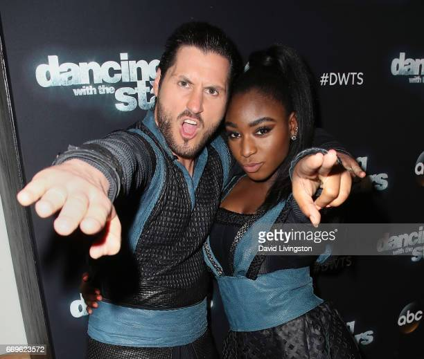 Fifth Harmony member Normani Kordei and dancer Valentin Chmerkovskiy attend 'Dancing with the Stars' Season 24 at CBS Televison City on April 17 2017...
