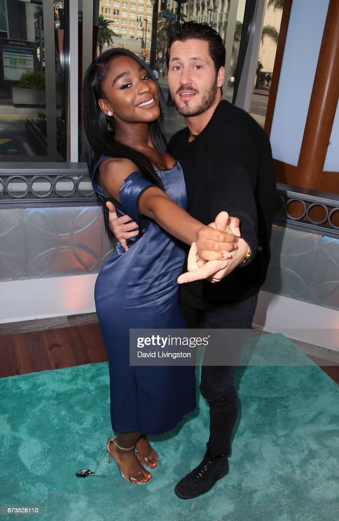 Fifth Harmony member Normani Kordei (L) and dancer Valentin Chmerkovskiy visit Hollywood Today Live at W Hollywood on April 26, 2017 in Hollywood, California.
