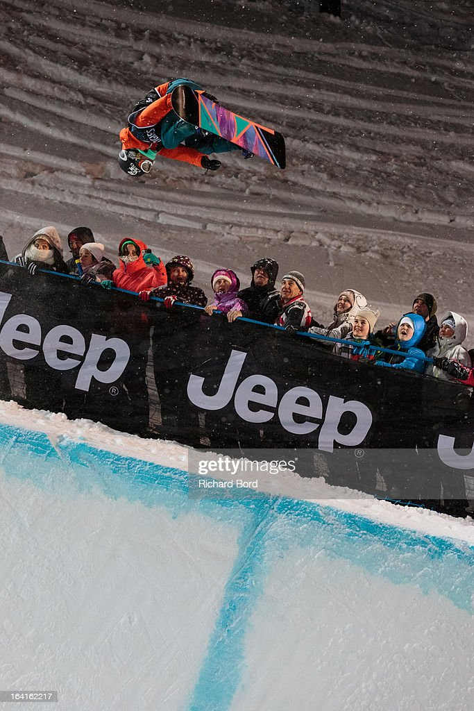 Fifth place Gretchen Bleiler performs during the Women's Snowboard Superpipe final during day three of Winter X Games Europe 2013 on March 20, 2013 in Tignes, France.