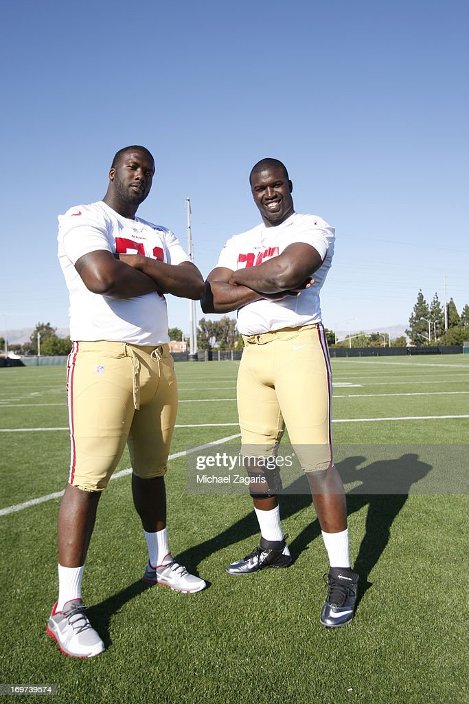 Fifth round draft pick Quinton Dial and Tank Carradine pose for a photo during the San Francisco 49ers Rookie Camp at the team training complex facility on May 10, 2013 in Santa Clara, California