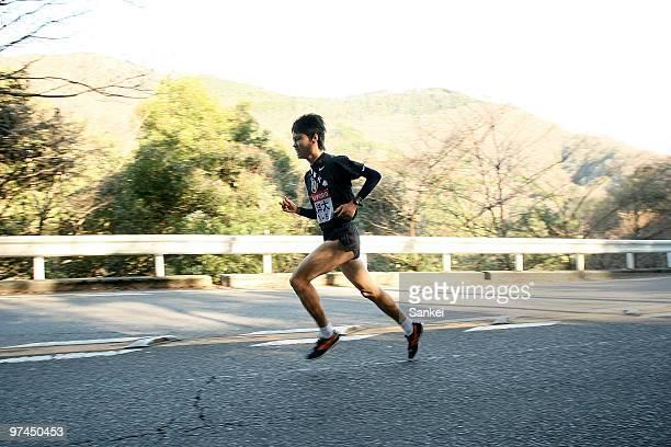 Fifth runner of Toyo University Ryuji Kashiwabara runs during the 86th Hakone Ekiden Day 1 on January 2 2010 in Hakone Kanagawa Japan