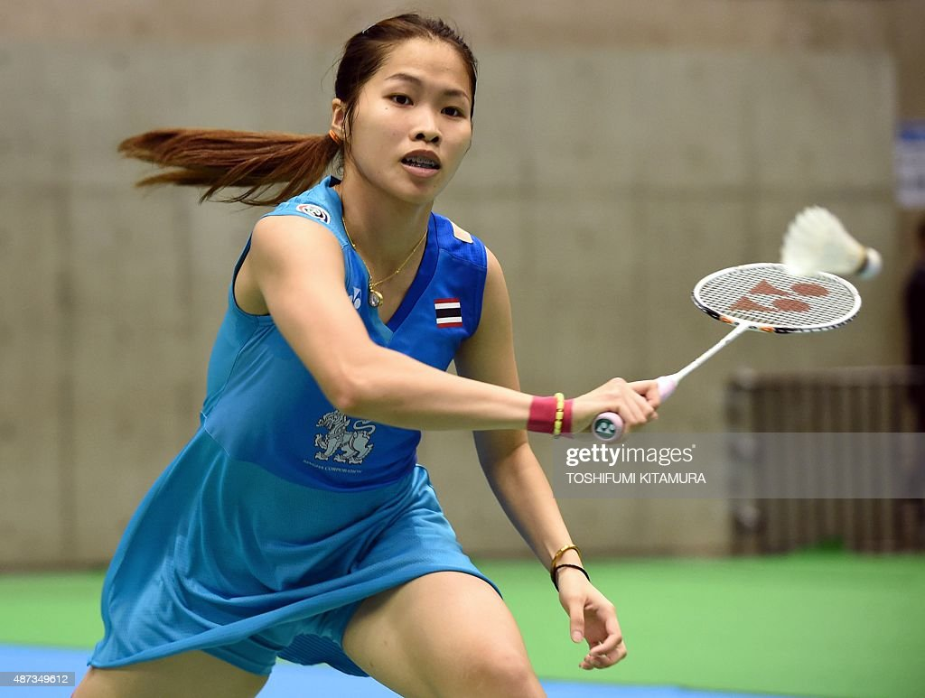 Fifth seeded Ratchanok Intanon of Thailand hits a return against