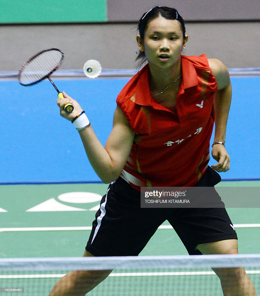 Fifth seeded Tai Tzu Ying of Taiwan hits a return against Yuki