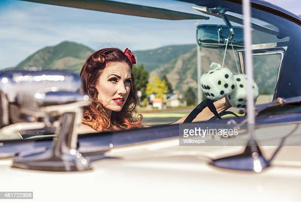 Fifties Glamour Girl Driving Convertible Car
