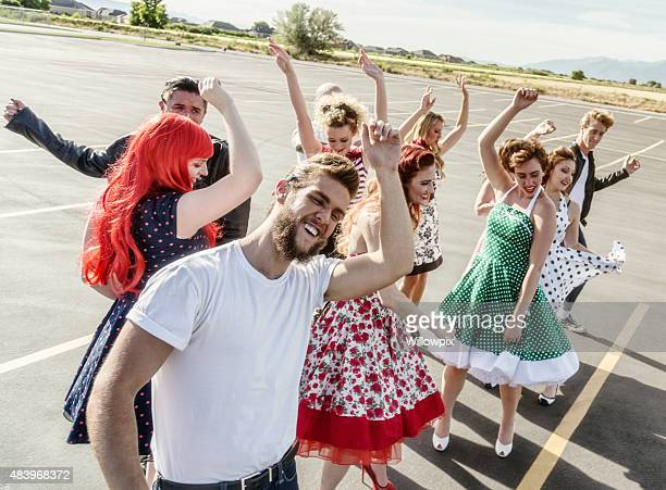 Fifties High School Graduation Party in the Parking Lot