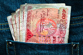 Fifty pounds in a pocket - Rich and lucky concept image