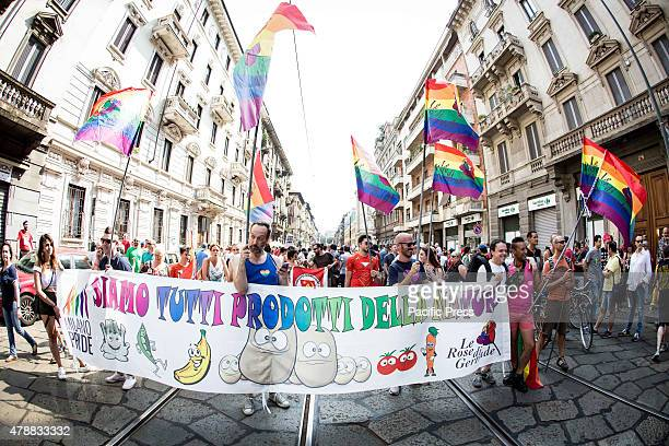 Fifty thousand people walking on the street for gay lesbian and diversity rights in Milan