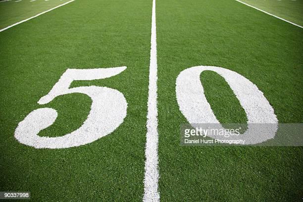 Fifty yard line of football field