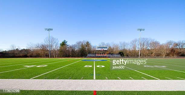 Fifty Yard Line On An Empty High School Football Field