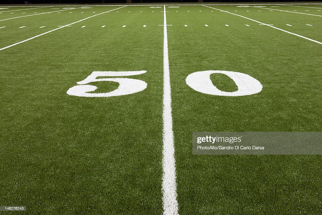 Fifty yard line on football field