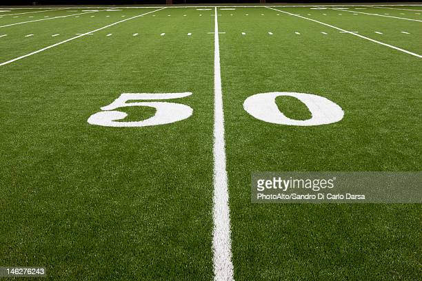 Fifty yard line on football field