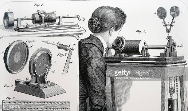 Edison's first phonograph in which the tinfoil cylinder vas turned by hand Fig 2 Stoh's clockwork driven phonograph Figs 35 Needle and diaphragm of...