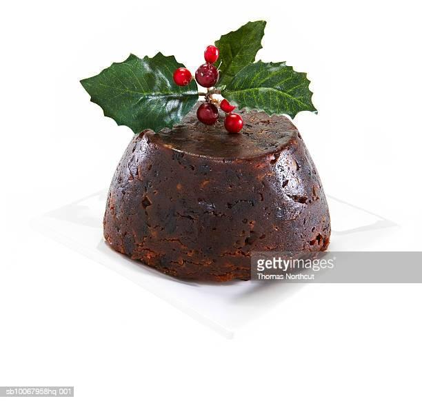 Fig pudding on white background