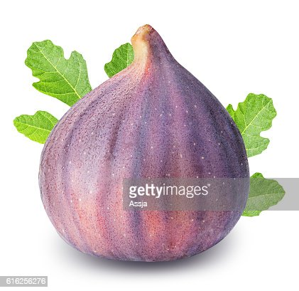 Fig with leafs isolated on white background : Foto de stock