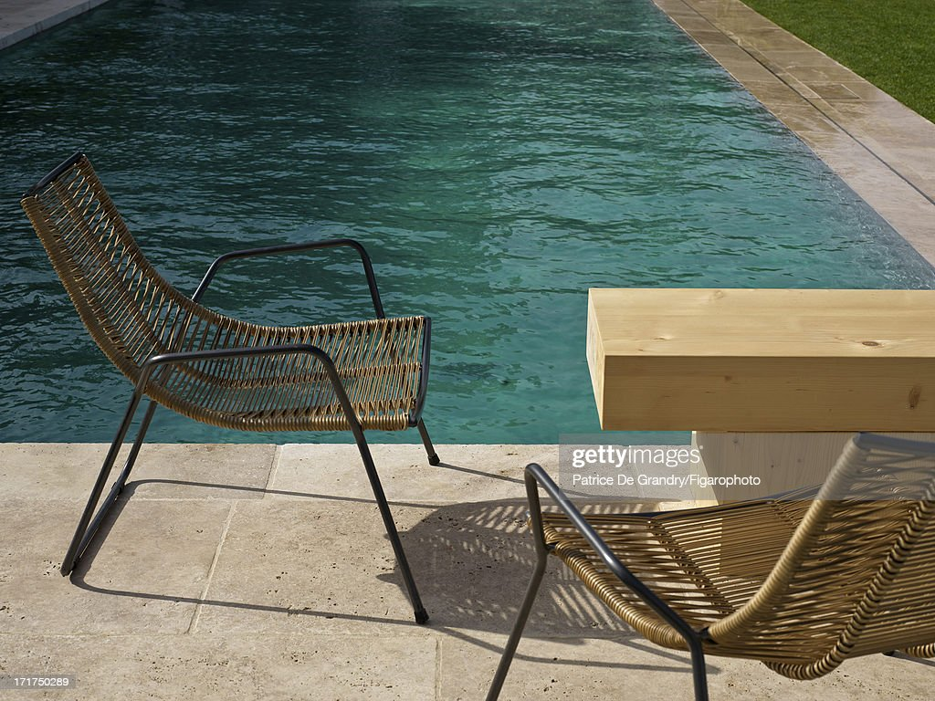 104642-011. A holiday home designed by architect Pierre Yovanovitch is photographed for Madame Figaro on May 1, 2013 in St Tropez, France.