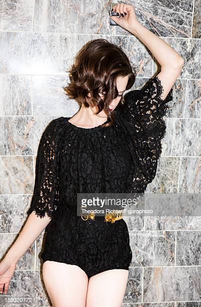 Figaro ID 104963008 Actress Roxane Mesquida is photographed for Madame Figaro on September 23 2012 in Paris France Lace bodysuit by Dolce Gabbana...