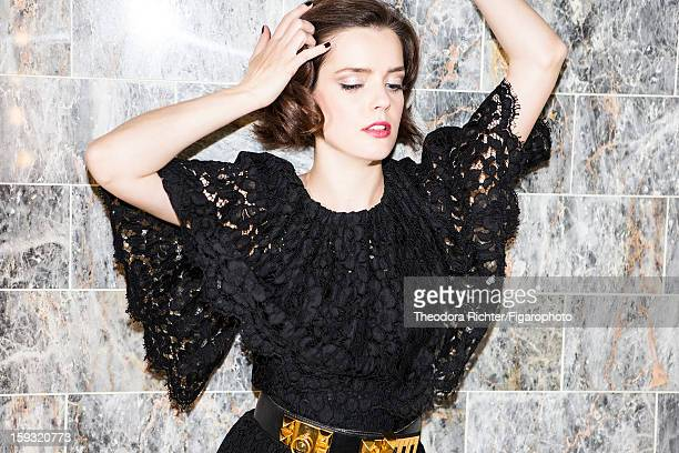 Figaro ID 104963009 Actress Roxane Mesquida is photographed for Madame Figaro on September 23 2012 in Paris France Lace bodysuit by Dolce Gabbana...