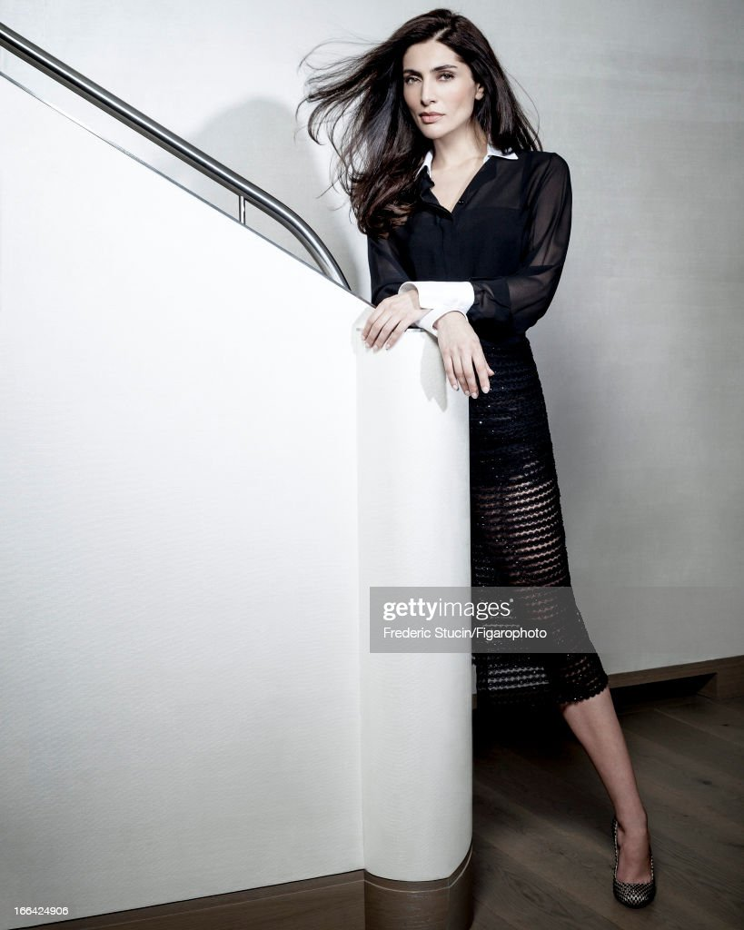 105949-002. Actress <a gi-track='captionPersonalityLinkClicked' href=/galleries/search?phrase=Caterina+Murino&family=editorial&specificpeople=619334 ng-click='$event.stopPropagation()'>Caterina Murino</a> is photographed for Madame Figaro on January 23, 2013 in Paris, France. Shirt and skirt (Valentino), camisole (La Perla Studio), shoes (Christian Louboutin). PUBLISHED IMAGE.