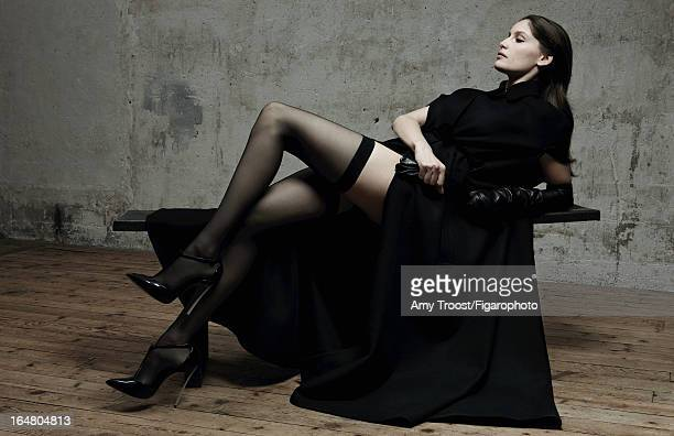 Figaro ID 106050002 Model Laetitia Casta poses for Madame Figaro on February 13 2013 in Paris France PUBLISHED IMAGE Cape gloves stockings shoes...