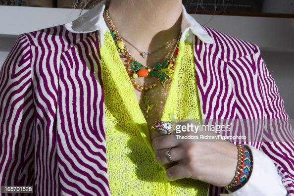 Figaro ID 106091008 TV host Daphne Burki is photographed for Madame Figaro on February 19 2013 in Paris France Shirt blazer necklace ring bracelet...