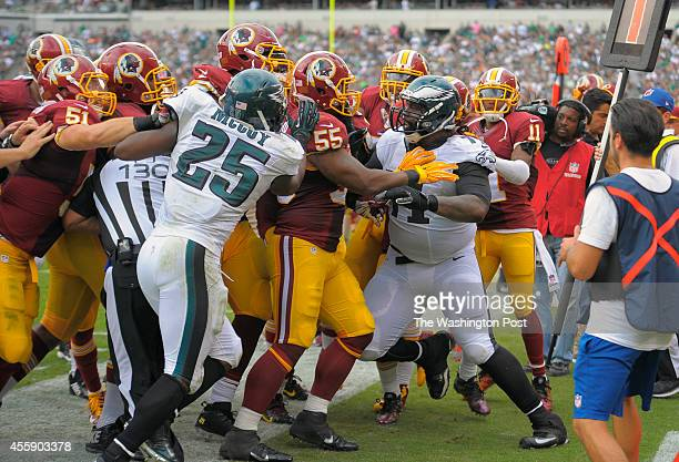 A fight between the Eagle and Redskins broke out in the 4th quarter Philadelphia tackle Jason Peters right was one of the players ejected as the...