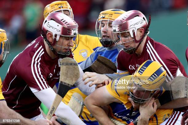 A fight breaks out in the match between Galway and Clare during the 2017 AIG Fenway Hurling Classic and Irish Festival at Fenway Park on November 19...