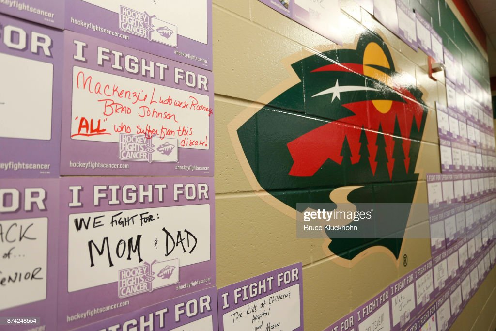 I Fight For placards line the tunnel as part of the NHL's Hockey Fights Cancer Awareness Night prior to the game between the Philadelphia Flyers and the Minnesota Wild at the Xcel Energy Center on November 14, 2017 in St. Paul, Minnesota.