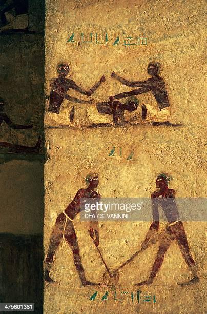 Fight scenes wall painting Kethi tomb Beni Hasan Necropolis Egypt Egyptian civilisation Middle Kingdom Dynasty XII Detail