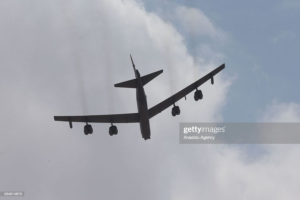 B52 Fighter aircrafts fly above Azraq desert as United States and Jordan take part in the joint Eager Lion 16 Military Drill of Jordan and US in capital Amman, Jordan on May 24, 2016. Village saving operation is carried out with Challanger and Abrams tanks as they use other ammunition during the military drill.