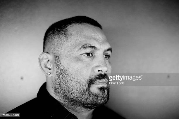 UFC fighter and Dunamis actor Mark Hunt poses during an AFL Gold Coast Suns media opportunity at Metricon Stadium Hunt on August 26 2016 in Gold...