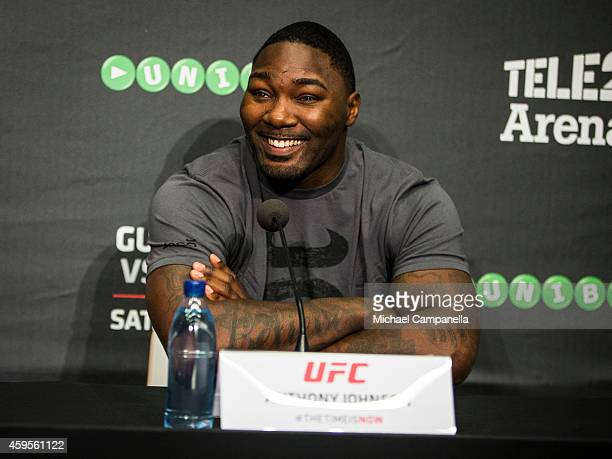 UFC fighter Anthony Johnson participates in a press conference at the Tele2 Arena on November 25 2014 in Stockholm Sweden