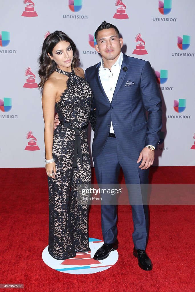 MMA fighter Anthony Pettis (R) attends the 16th Latin GRAMMY Awards at the MGM Grand Garden Arena on November 19, 2015 in Las Vegas, Nevada.