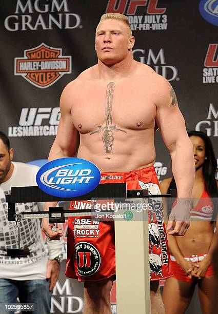 UFC fighter Brock Lesnar weighs in for his Heavyweight Championship fight against UFC fighter Shane Carwin at UFC 116 on July 2 2010 in Las Vegas...