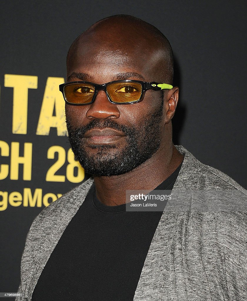 MMA fighter Cheick Kongo attends the premiere of 'Sabotage' at Regal Cinemas L.A. Live on March 19, 2014 in Los Angeles, California.