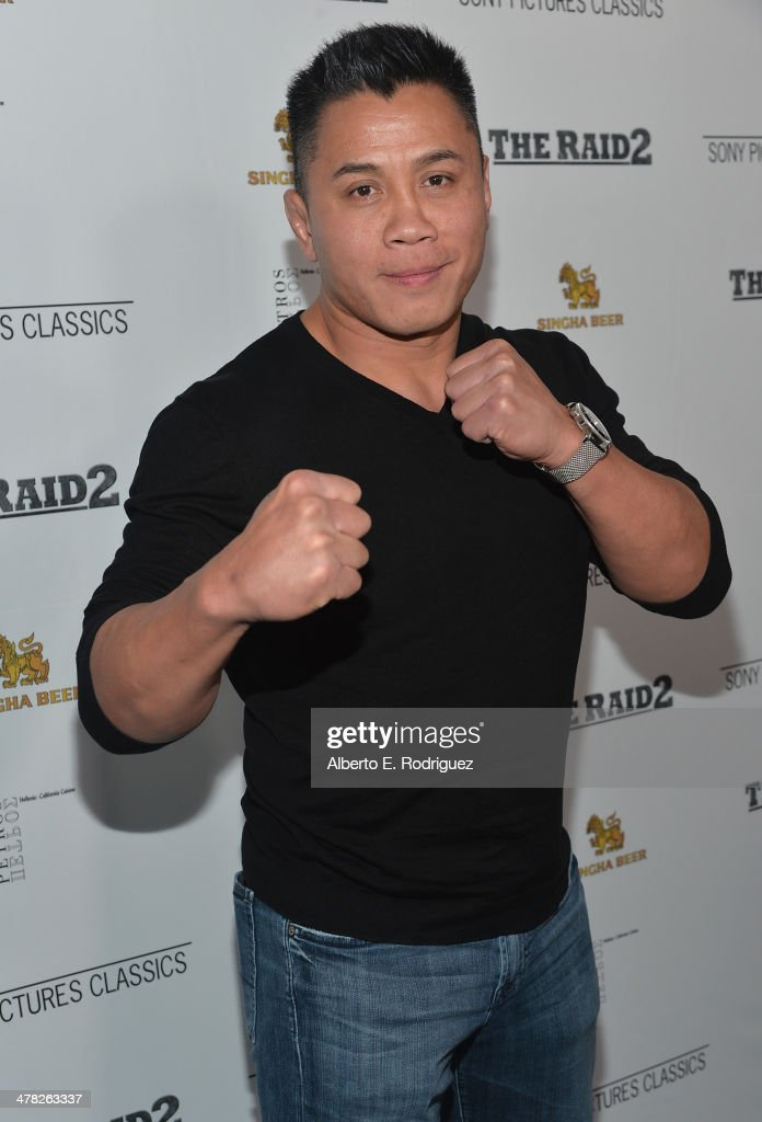 MMA fighter <a gi-track='captionPersonalityLinkClicked' href=/galleries/search?phrase=Cung+Le&family=editorial&specificpeople=5043457 ng-click='$event.stopPropagation()'>Cung Le</a> arrives to the premiere of Sony Pictures Classics' 'The Raid 2' at Harmony Gold Theatre on March 12, 2014 in Los Angeles, California.