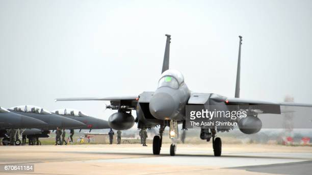 US fighter F16 takes off during the United StatesSouth Korea joint air exercise 'Max Thunder' on April 17 2017 in Gunsan South Korea The exercise...