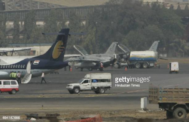 Fighter falcons Two F16 fighter jets participating in the Bangalore Aero Show stopped over at the city airport on Monday The US manufactured combat...