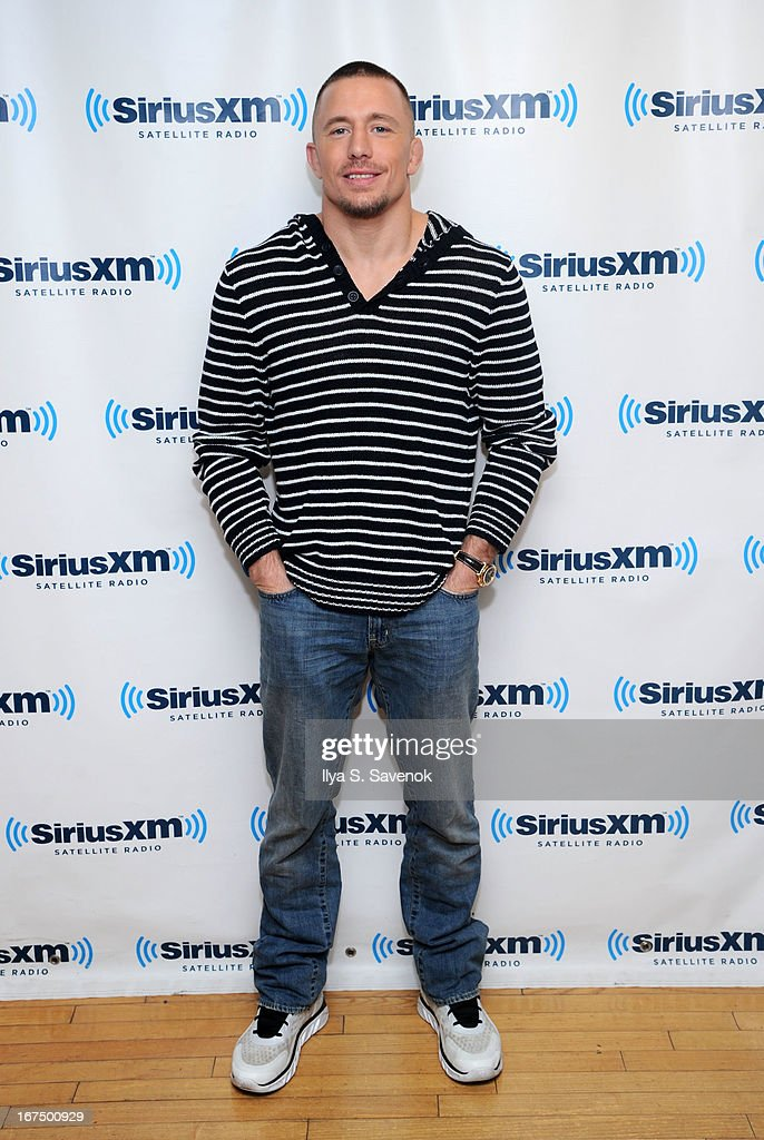 UFC fighter Georges St. Pierre aka GSP visits the SiriusXM Studios on April 25, 2013 in New York City.