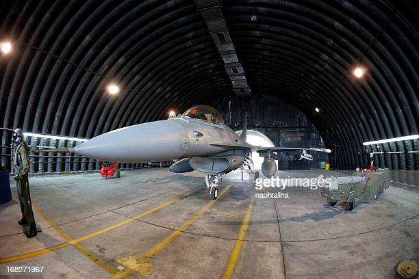 F16 Fighter in military airplane mechanic