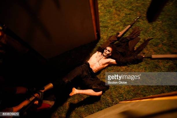 A fighter is dragged out of the ring after falling in battle to his opponent during the Thunderdome event at Ragnarok XXXII on June 21 2017 For one...