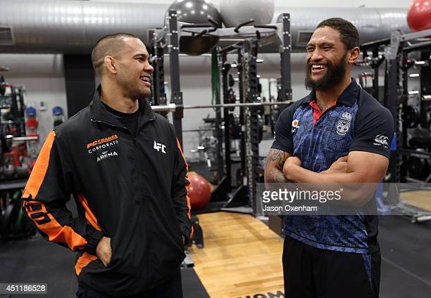 Fighter James Te Huna and Manu Vatuvei of the Warriors speak in the Warriors gym before a New Zealand Warriors NRL training session at Mt Smart...