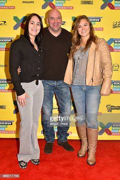 UFC fighter Jessica Eye UFC president Dana White and UFC fighter Ronda Rousey attend 'UFC Women Breaking Ground Inside the Octagon' during the 2015...