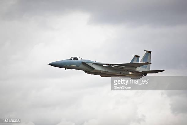 F-15 fighter jet in level flight