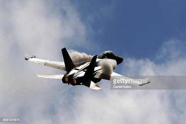 A fighter jet is seen prior to race 25 for the Ipswich 400 which is round eight of the V8 Supercar Championship Series at Queensland Raceway on...