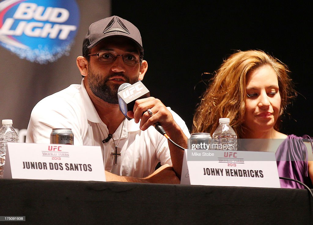 UFC fighter Johny Hendricks interacts with fans during a press conference at Beacon Theatre on July 31, 2013 in New York City.